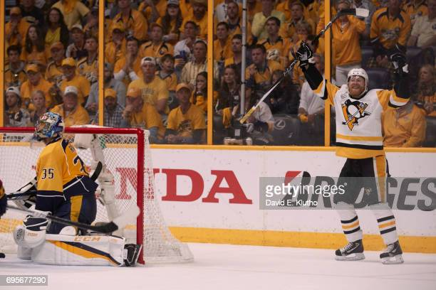 NHL Finals Pittsburgh Penguins Patric Hornqvist victorious after scoring game winning goal vs Nashville Predators goalie Pekka Rinne at Bridgestone...