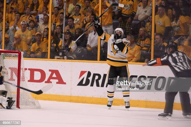 NHL Finals Pittsburgh Penguins Patric Hornqvist victorious after scoring game winning goal vs Nashville Predators at Bridgestone Arena Game 6...