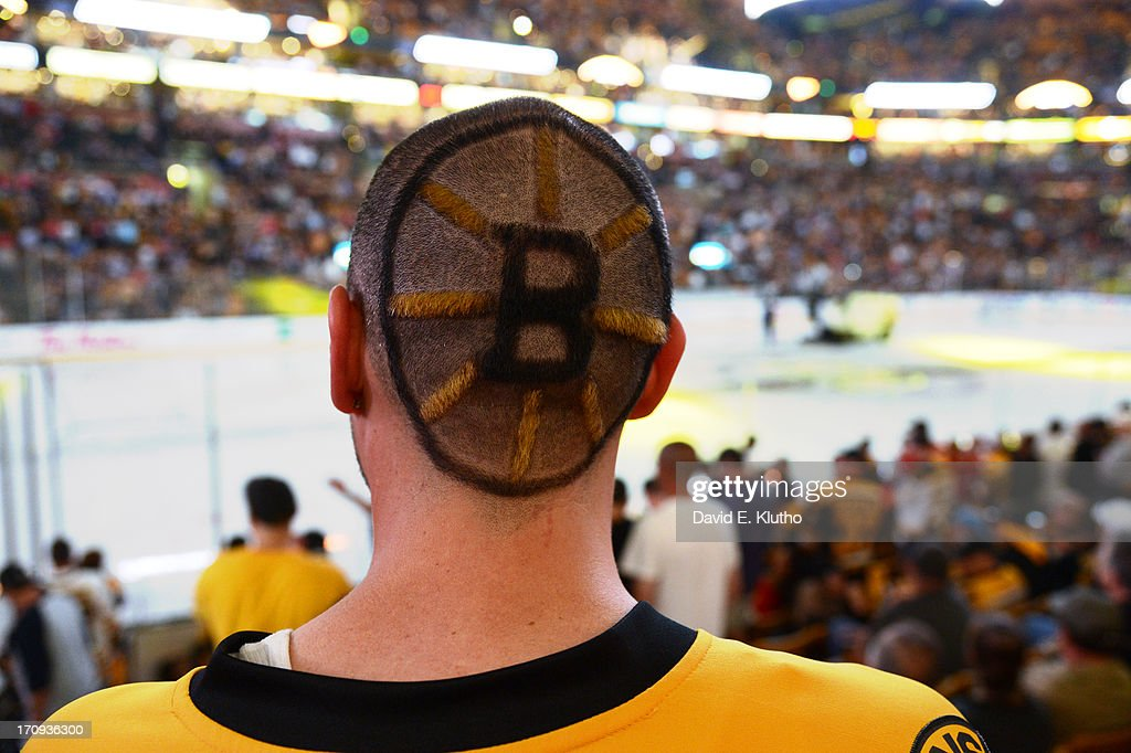 Rear view of Boston Bruins fan with logo shaved on back of head during game vs Chicago Blackhawks at TD Garden. Game 4. David E. Klutho F8 )