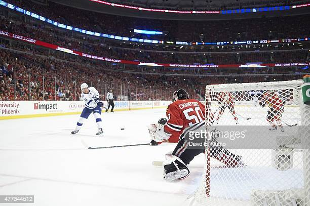 NHL Finals Tampa Bay Lightning Anton Stralman in action shooting vs Chicago Blackhawks goalie Corey Crawford at United Center Game 4 Chicago IL...