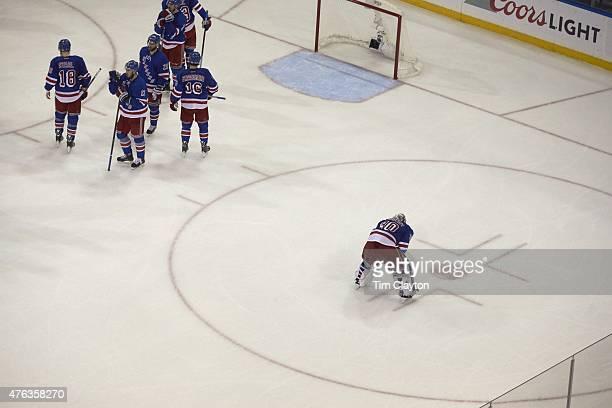 NHL Playoffs Aerial rear view New York Rangers goalie Henrik Lundqvist upset after losing game vs Tampa Bay Lightning at Madison Square Garden Game 7...