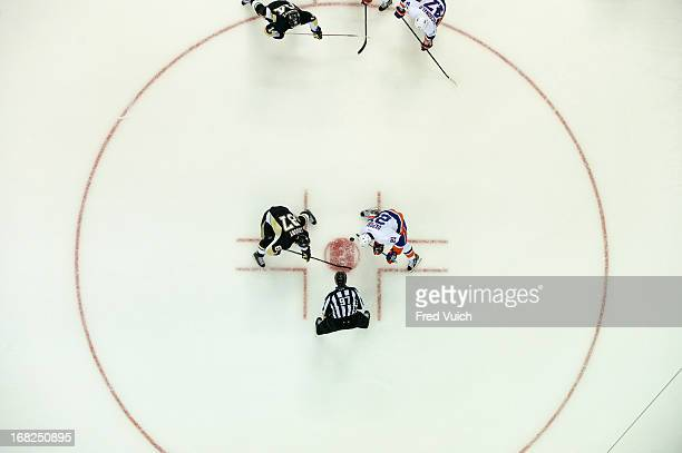 NHL Playoffs Aerial view of Pittsburgh Penguins Sidney Crosby in action faceoff vs New York Islanders Kyle Okposo at Consol Energy Center Game 2...