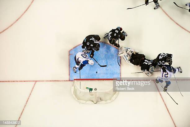 NHL Playoffs Aerial view of San Jose Sharks goalie Antti Niemi in action yielding goal vs St Louis Blues Andy McDonald at HP Pavilion Game 4 San Jose...