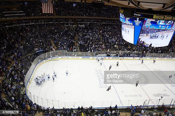 NHL Playoffs Aerial view of Tampa Bay Lightning players victorious on ice after winning game and series vs New York Rangers at Madison Square Garden...