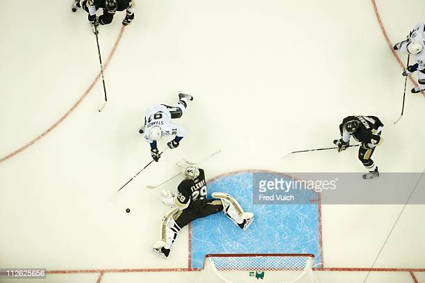 NHL Playoffs Aerial view of Tampa Bay Lightning Steven Stamkos in action vs Pittsburgh Penguins goalie MarcAndre Fleury at Consol Energy Center Game...