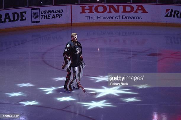 NHL Playoffs Anaheim Ducks goalie Frederik Andersen during anthem before game vs Chicago Blackhawks at Honda Center Game 7 Anaheim CA 5/30/2015...