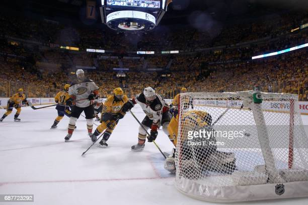 NHL Playoffs Anaheim Ducks Nate Thompson and Ryan Getzlaf in action during Corey Perry goal during overtime period vs Nashville Predators at...