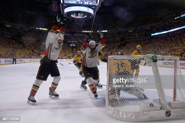 NHL Playoffs Anaheim Ducks Nate Thompson and Ryan Getzlaf victorious after Corey Perry goal during overtime period vs Nashville Predators at...