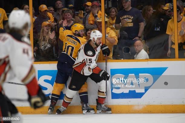 NHL Playoffs Anaheim Ducks Ryan Getzlaf in action vs Nashville Predators Colton Sissons at Bridgestone Arena Game 3 Nashville TN CREDIT David E Klutho