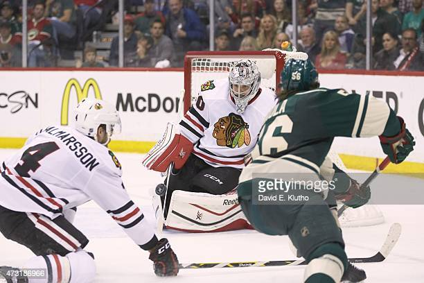 NHL Playoffs Chicago Blackhawks goalie Corey Crawford in action vs Minnesota Wild at XCel Energy Center Game 4 St Paul MN 5/7/2015 CREDIT David E...