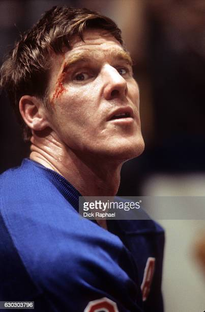 NHL Playoffs Closeup of New York Rangers Tim Horton during game vs Boston Bruins at Madison Square Garden Game 4 New York NY CREDIT Dick Raphael