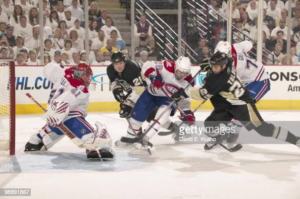 NHL Playoffs Montreal Canadiens goalie Jaroslav Halak and Josh Gorges in action vs Pittsburgh Penguins Ruslan Fedotenko and Maxime Talbot Game 2...