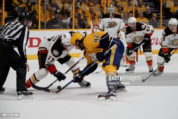 NHL Playoffs Nashville Predators Ryan Johansen in action faceoff vs Anaheim Ducks Ryan Kesler at Bridgestone Arena Game 4 Nashville TN CREDIT David E...