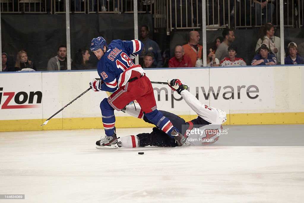 New York Rangers Marc Staal (18) in action vs Washington Capitals Joel Ward (42) at Madison Square Garden. Game 7. Adam Hunger F57 )