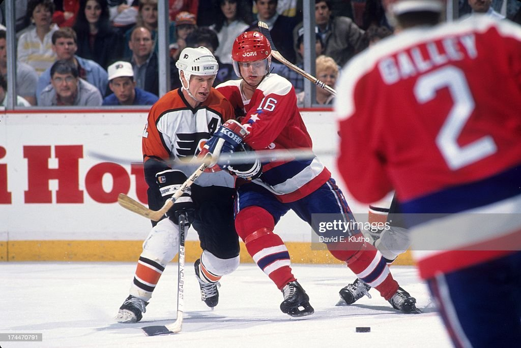 NHL Playoffs Philadelphia Flyers Mark Howe in action vs Washington Capitals BengtAke Gustafsson at The Spectrum Game 3 Philadelphia PA CREDIT David E...