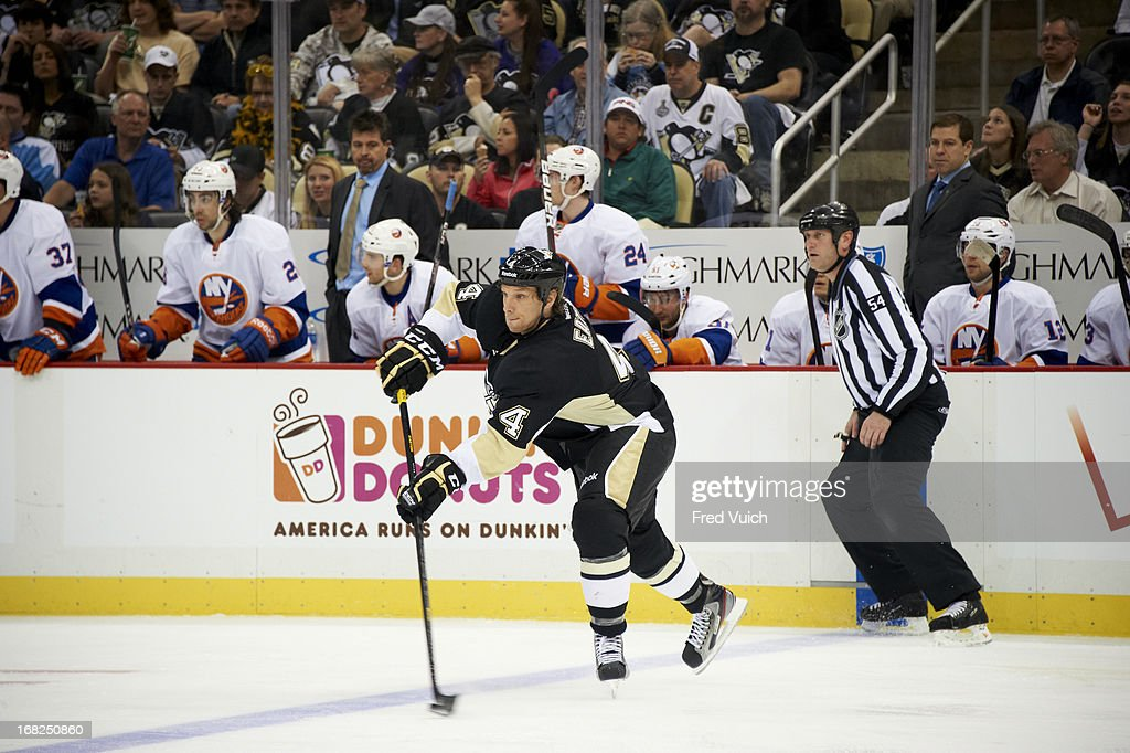 Pittsburgh Penguins Mark Eaton (4) in action vs New York Islanders at Consol Energy Center. Game 1. Fred Vuich F635 )