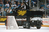 NHL Playoffs View of zamboni on ice with Miller Genuine Draft advertisement during intermission of San Jose Sharks vs Toronto Maple Leafs at San Jose...