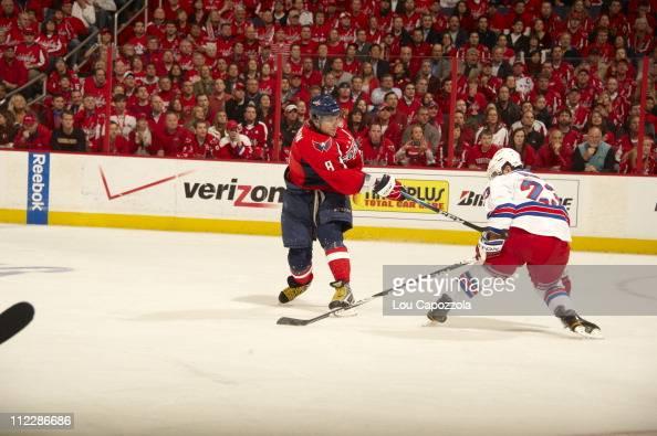 NHL Playoffs Washington Capitals Alex Ovechkin in action shot vs New York Rangers Chris Drury at Verizon Center Game 1Washington DC 4/13/2011CREDIT...