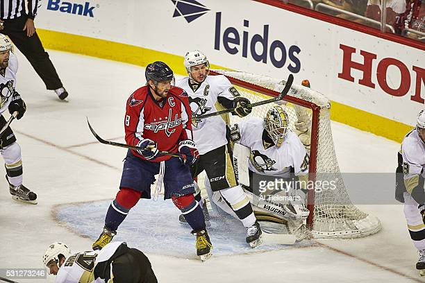 NHL Playoffs Washington Capitals Alex Ovechkin in action vs Pittsburgh Penguins Sidney Crosby and goalie Matthew Murray at Verizon Center Game 5...