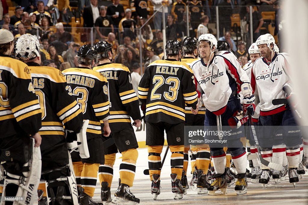 Washington Capitals Alex Ovechkin (8) shaking hands with Boston Bruins Chris Kelly (23) after game at TD Garden. Game 7. Damian Strohmeyer F4 )