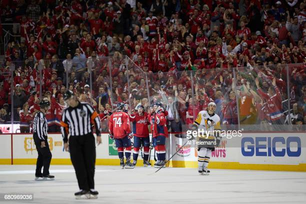 NHL Playoffs Washington Capitals TJ Oshie victorious with teammates on ice during game vs Pittsburgh Penguins at Verizon Center Game 5 Washington DC...