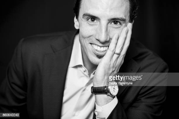 NHL Season Preview Closeup portrait of Vegas Golden Knights MarcAndre Fleury posing during photo shoot at league headquarters at 1185 6th Avenue New...