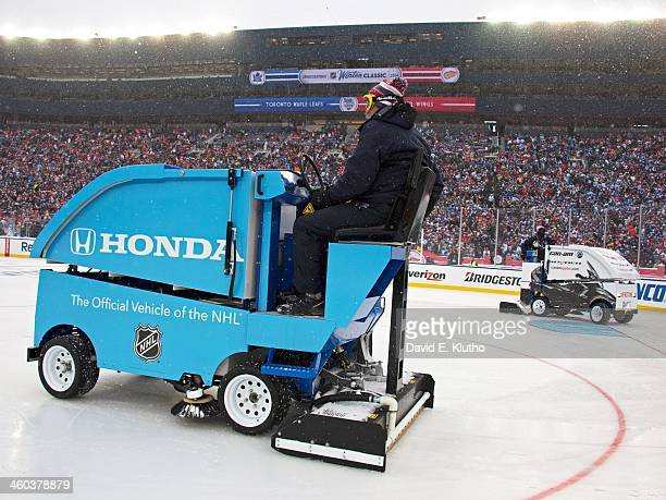 NHL Winter Classic View of Ice Resurfacing machine during intermission of Detroit Red Wings vs Toronto Maple Leafs game at Michigan Stadium Ann Arbor...