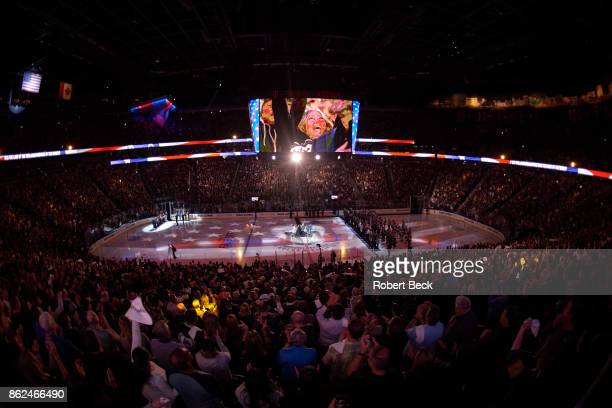 Overall view of TMobile Arena during anthem before Vegas Golden Knights vs Arizona Coyotes game Las Vegas NV CREDIT Robert Beck