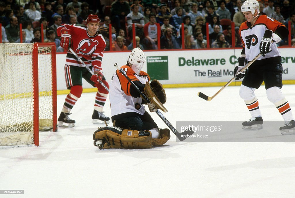 9eb617bea ... Philadelphia Flyers goalie Pelle Lindbergh (31) in action, save vs New  Jersey Devils ...