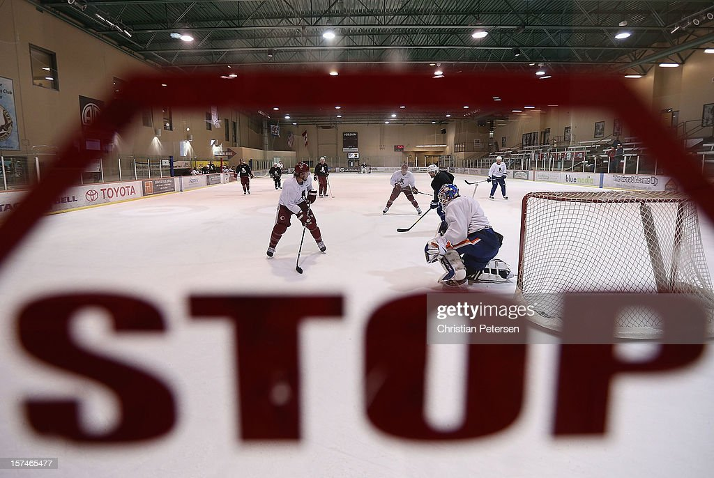 Hockey plaers participate in a workout at the Ice Den on December 3, 2012 in Scottsdale, Arizona. More than a dozen players from around the league that are not able to play during the NHL lockout have been attending workouts at the Phoenix Coyotes practice rink.