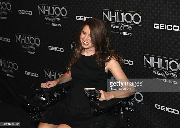 Hockey player Denna Laing arrives for the NHL 100 presented by GEICO show as part of the 2017 NHL AllStar Weekend at the Microsoft Theater on January...