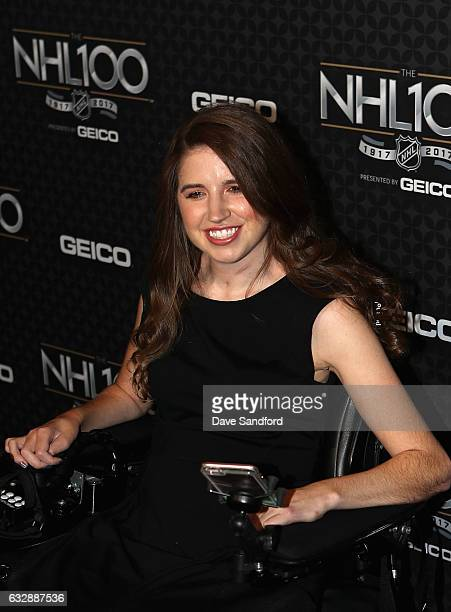 Hockey player Denna Laing arrives on the red carpet for the NHL 100 presented by GEICO show as part of the 2017 NHL AllStar Weekend at the Microsoft...