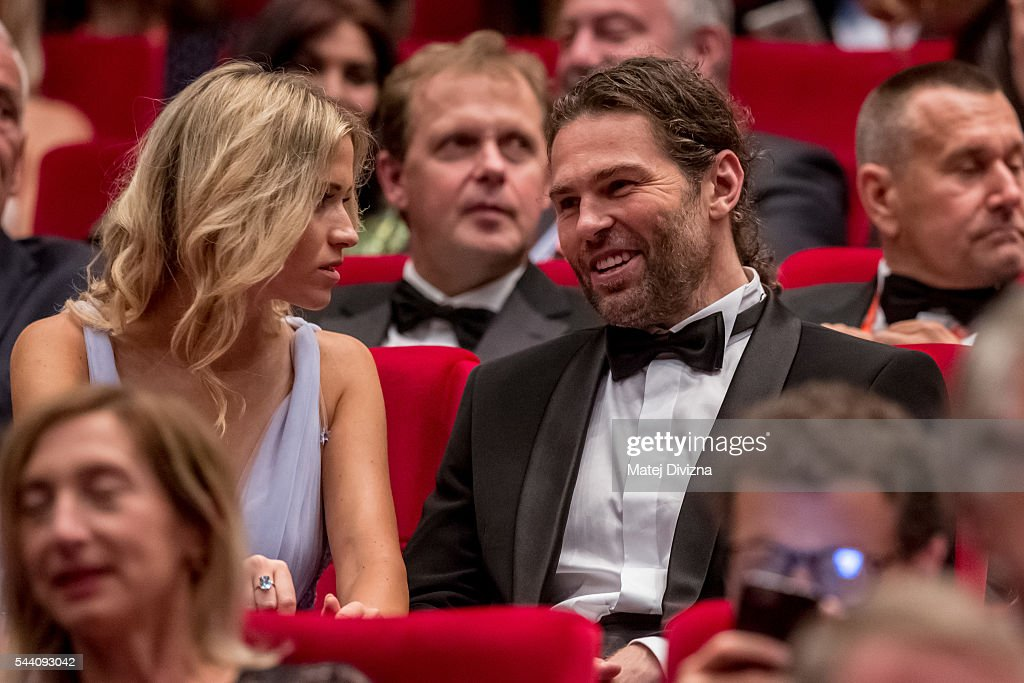 Hockey player Jaromir Jagr with his girlfriend Veronika Koprivova attends the opening ceremony of the 51st Karlovy Vary International Film Festival (KVIFF) on July 1, 2016 in Karlovy Vary, Czech Republic.