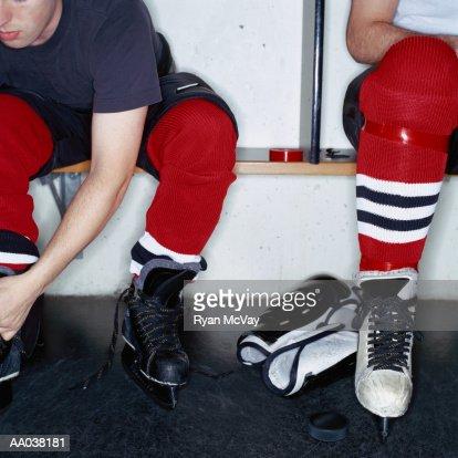 Hockey Players in Locker Room