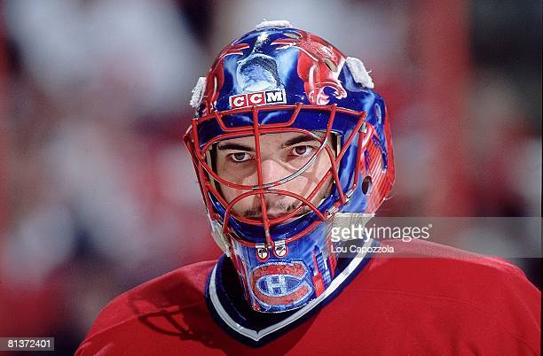 Hockey playoffs Montreal Canadiens goalie Jose Theodore during game vs Carolina Hurricanes Raleigh NC 5/3/2002