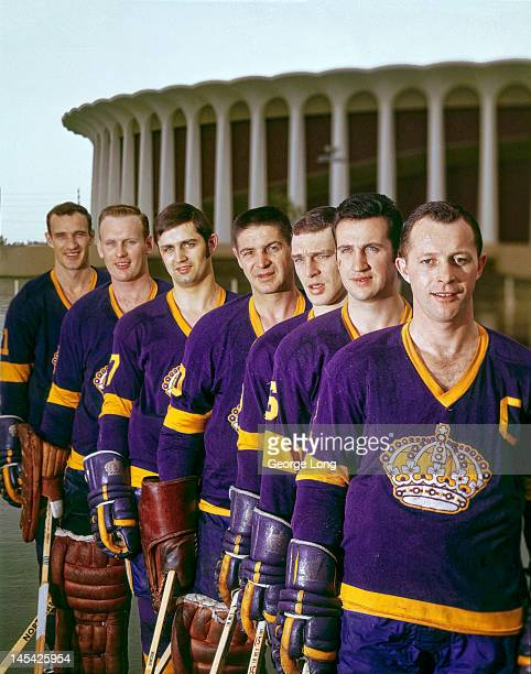Portrait of Los Angeles Kings Bob Wall Ed Joyal Real Lemieux goalie Terry Sawchuk Bill Flett goalie Wayne Rutledge and Bill White during photo shoot...