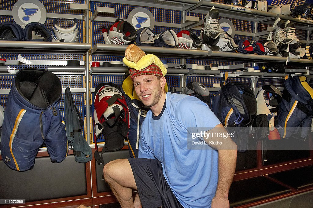 Portrait of St Louis Blues Scott Nichol casual wearing the Weenie Hat after winning game vs Chicago Blackhawks at Scottrade Center The hat is awarded...