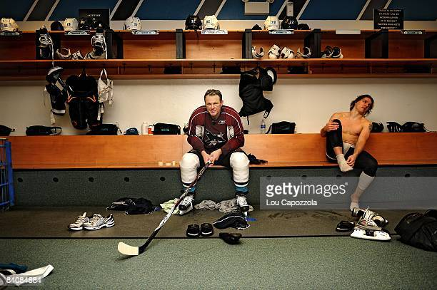 Portrait of Worcester Sharks Claude Lemieux after practice in locker room at DCU Center Worcester MA 12/4/2008 CREDIT Lou Capozzola