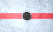 A 3D render of the center mark of an ice hockey rink stadium with a hockey puck