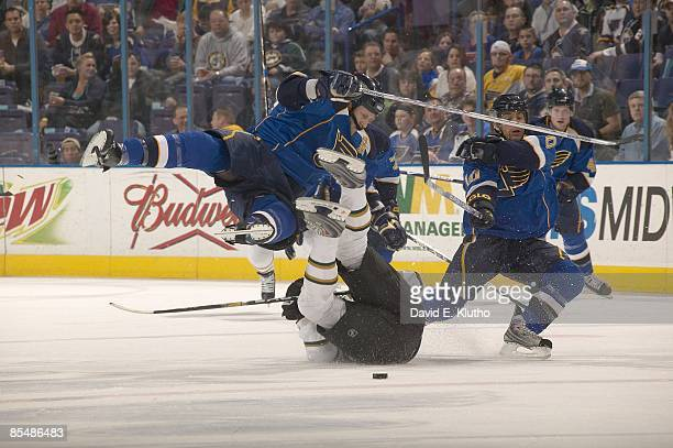 St Louis Blues Jay McKee and Andy McDonald in action during collision vs Dallas Stars Mark Parrish St Louis MO 3/10/2009 CREDIT David E Klutho