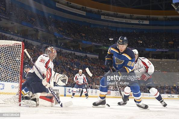 St Louis Blues Paul Stastny in action vs Washington Capitals goalie Justin Peters at Scottrade Center St Louis MO CREDIT David E Klutho