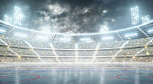 Soccer stadium. Professional sport arena. Night stadium under the moon with lights, fans and flags.