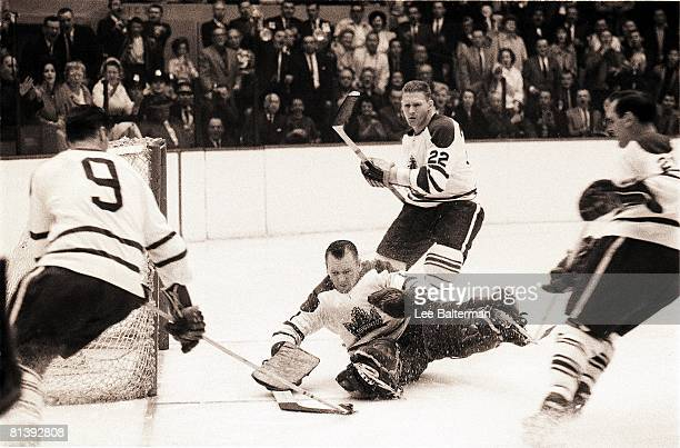 Hockey Stanley Cup Finals Toronto Maple Leafs goalie Johnny Bower in action vs Detroit Red Wings 4/16/19644/25/1964