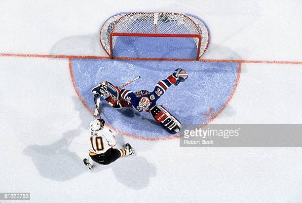Hockey Stanley Cup Finals Vancouver Canucks Pavel Bure in action vs New York Rangers goalie Mike Richter Vancouver CAN 6/7/1994
