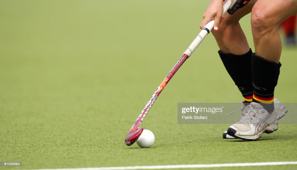 A hockey stick and a ball is seen during the Samsung Hockey Champions Trophy match between Germany and China on May 22 2008 in Moenchengladbach...