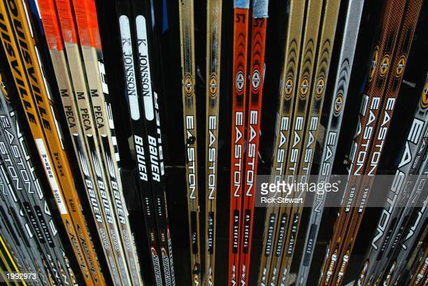 Hockey sticks of the New York Islanders are lined up in the stick rack before the Islanders take on the Buffalo Sabres at HSBC Arena on December 31...
