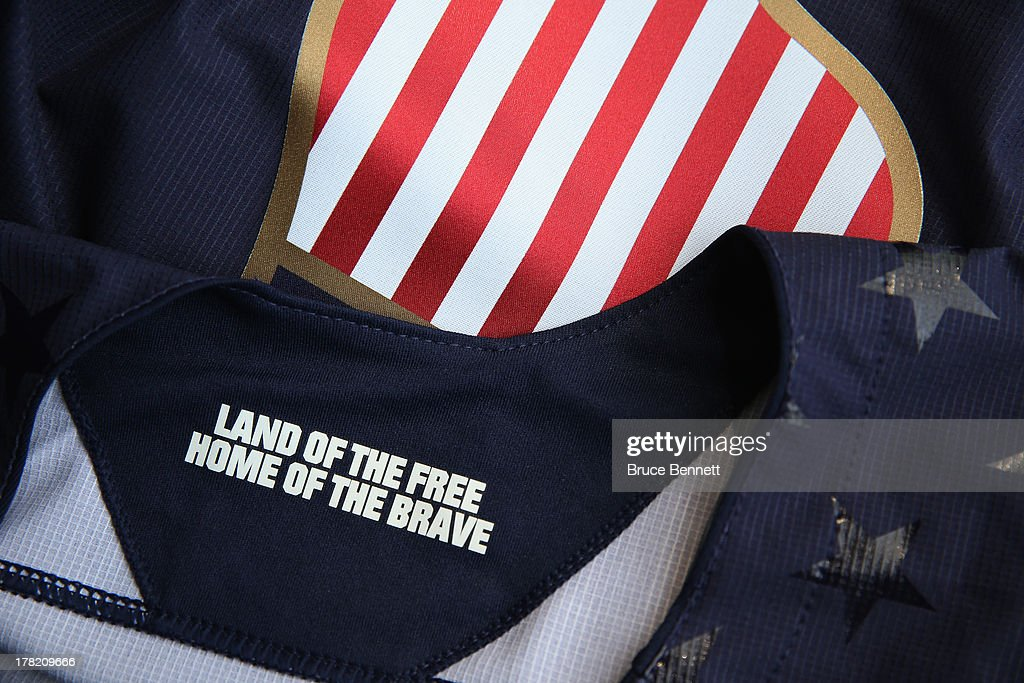 Hockey unveiled their 2014 USA Hockey Olympic jerseys bearing the inscription 'Land of the Free, Home of the Brave' at the Kettler Capitals Iceplex on August 27, 2013 in Arlington, Virginia.