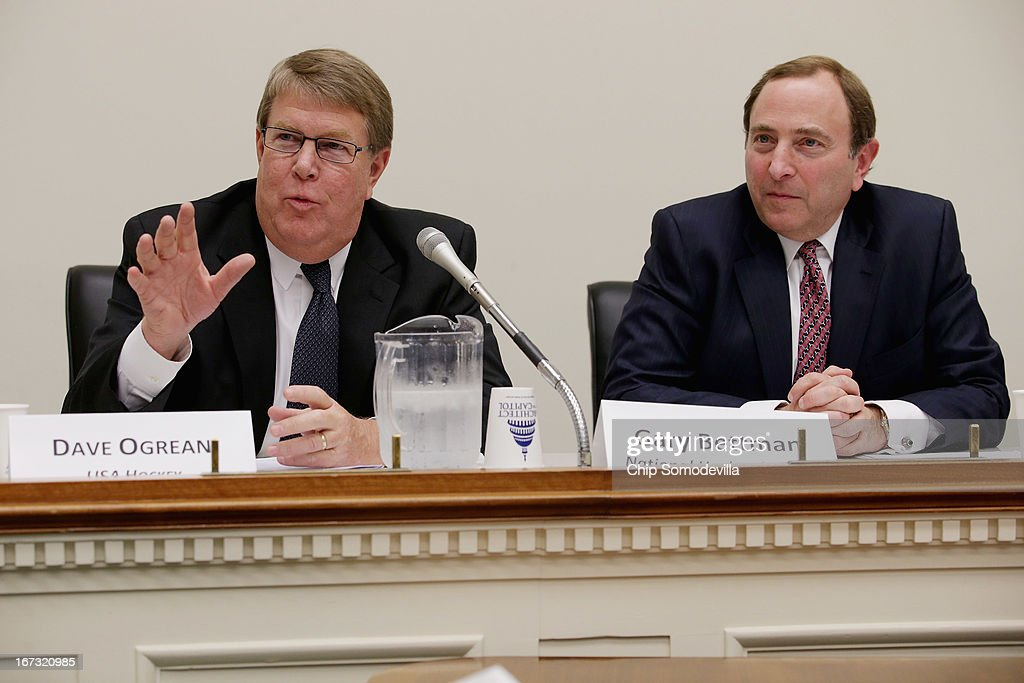 Hockey USA Executive Director Dave Ogrean (L) and NHL Commissioner Gary Bettman participate in a briefing on the state of hockey with members of the Congressional Hockey Caucus in the Rayburn House Office Building April 24, 2013 in Washington, DC. The recipients of the inaugural NHL/Thurgood Marshall College Fund scholarships were also announced during the event.