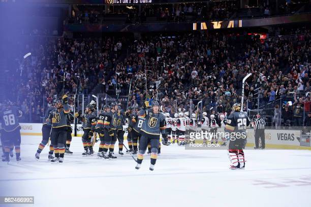 Vegas Golden Knights Cody Eakin victorious after game vs Arizona Coyotes at TMobile Arena Las Vegas NV CREDIT Robert Beck