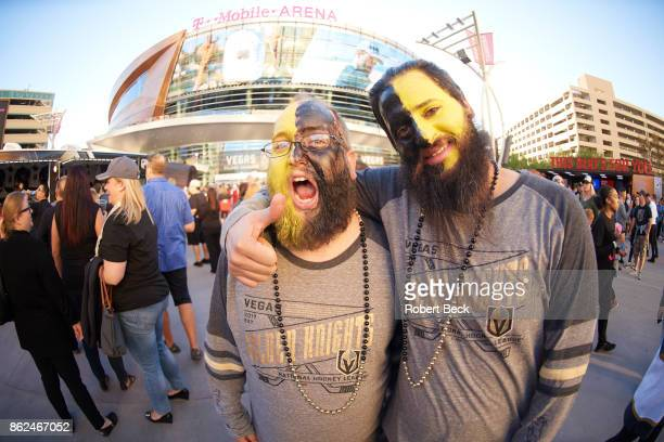 Vegas Golden Knights face painted fans outside TMobile Arena before game vs Arizona Coyotes Las Vegas NV CREDIT Robert Beck